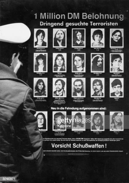 A poster issued by the criminal investigaton department of the Federal Republic of Germany showing wanted terrorists Left to right Top row Susanne...