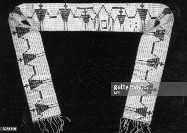 A wampum belt depicting the six nations of the Iroquois and the thirteen American colonies