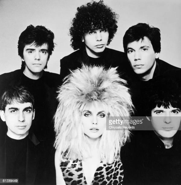 Circa 1980 Portrait of American rock group Blondie Clockwise from bottom left Clem Burke Frank Infante Nigel Harrison Jimmy Destri Chris Stein and...