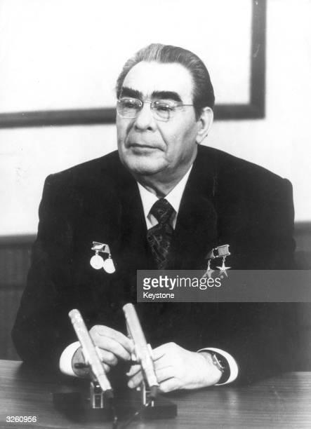 Soviet leader Leonid Brezhnev in his office at the Kremlin