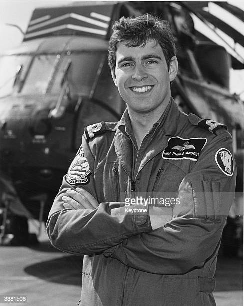 Andrew Duke of York standing by a Royal Air Force helicopter
