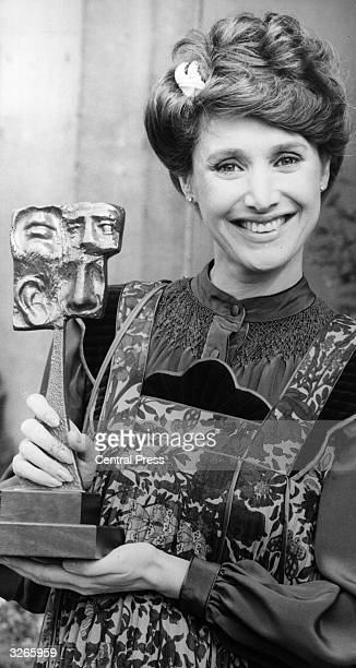 Jan Leeming the BBC TV newsreader with a trophy