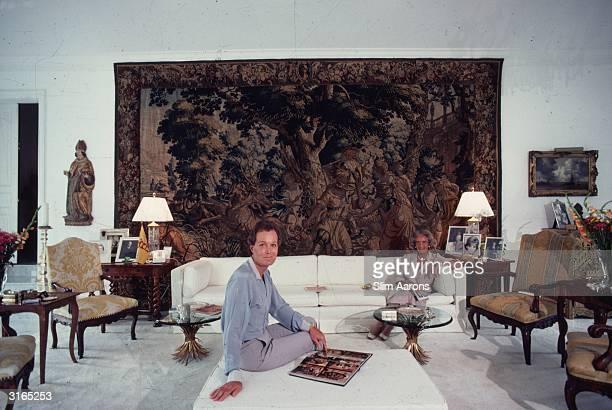 Baron Arndt Krupp von Bohlen und Halbach, 'the last Krupp' and his mother, Annelise von Bohlen und Halbach in Palm Beach, Florida. A large tapestry...