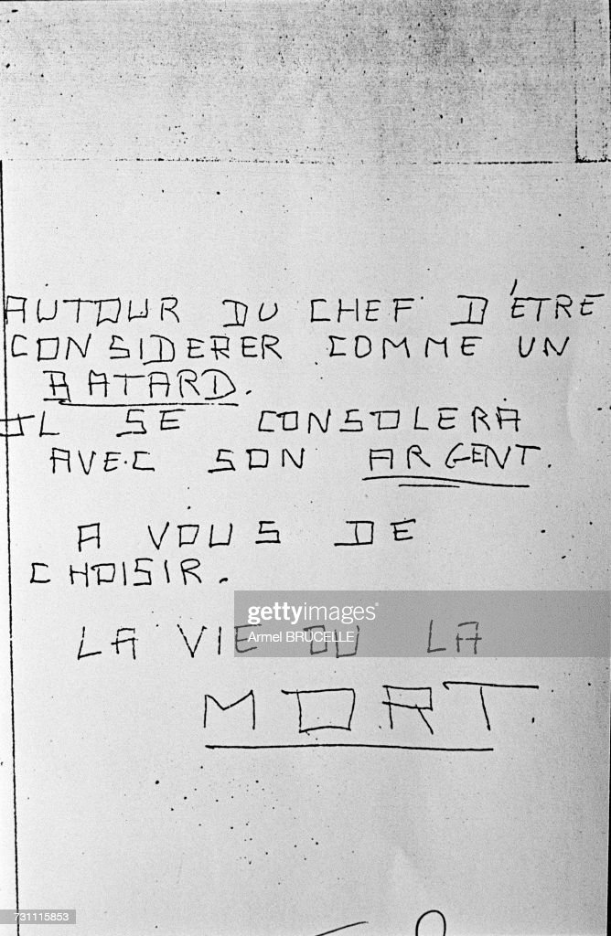 One of the anonymous threatening letters sent to Jean-Marie