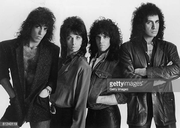 Circa 1983 Portrait of the Rock group Kiss left to right Paul Stanley Vinnie Vincent Eric Carr and Gene Simmons