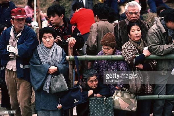 A group of spectators waiting for the Wayakama Festival Parade to pass at Nara Honshu