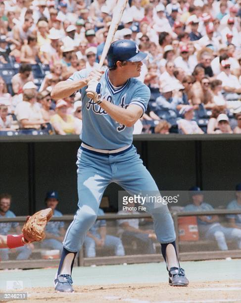 Atlanta Braves outfielder Dale Murphy stands in profile at the plate preparing to swing during a game 1980s He wears his helmet and uniform