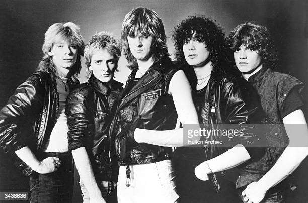 British rock band Def Leppard. From left to right: Steve Clark, Rick Savage, Joe Elliott, Pete Willis and Rick Allen.