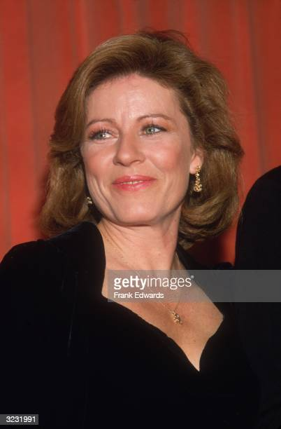 Headshot of American actor Patty Duke dressed in black