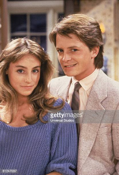 Circa 1986 Promotional portrait of actors Michael J Fox and Tracy Pollan on the set of the television series 'Family Ties' Fox and Pollan were...