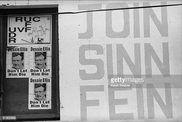 Posters in Northern Ireland supporting the Republican political party Sinn Fein and comparing the Northern Irish police force and the Army to the...