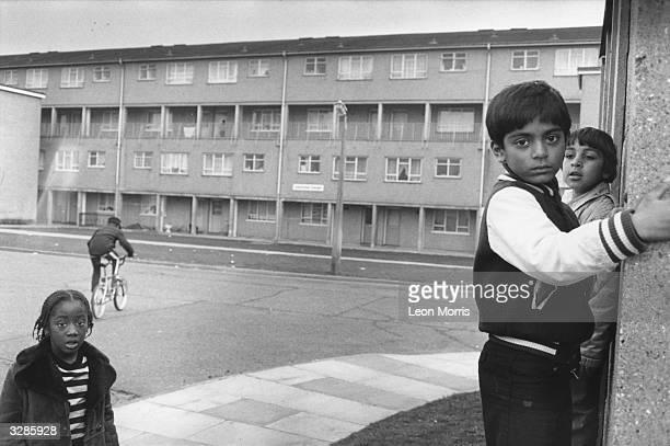 Children on a housing estate
