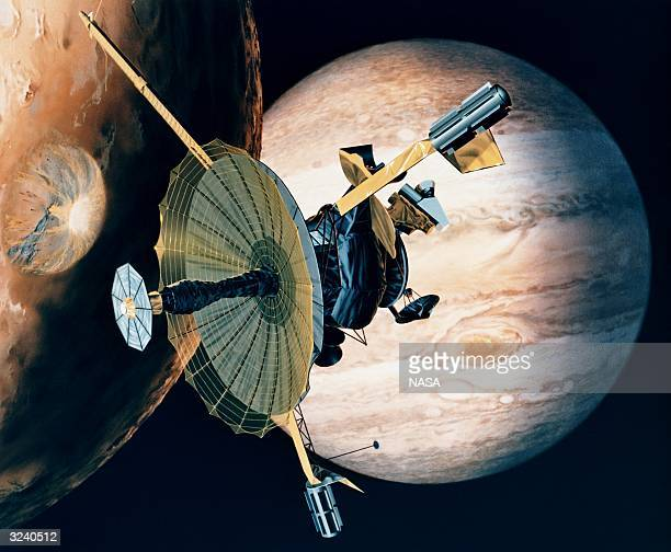 NASA's Galileo probe passing over one of Jupiter's 16 moons The planet's Great Red Spot thought to be a surface storm can be seen in the background