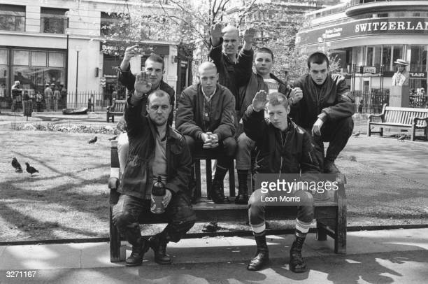 A group of skinheads giving the Nazi salute in Leicester Square London