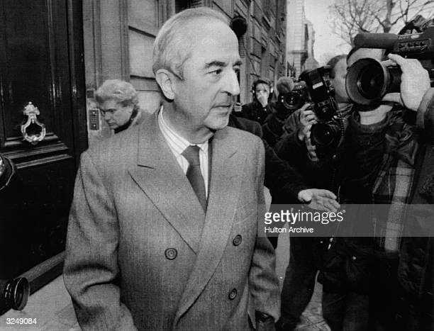 Edouard Balladur candidate for the post of French Prime Minister leaving his office