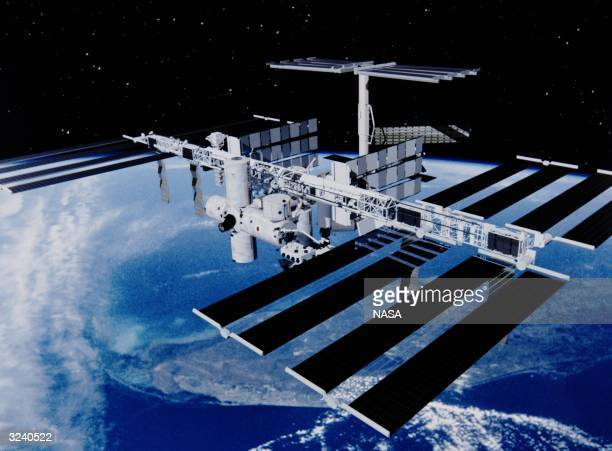An artist's impression of the completed International Space Station.