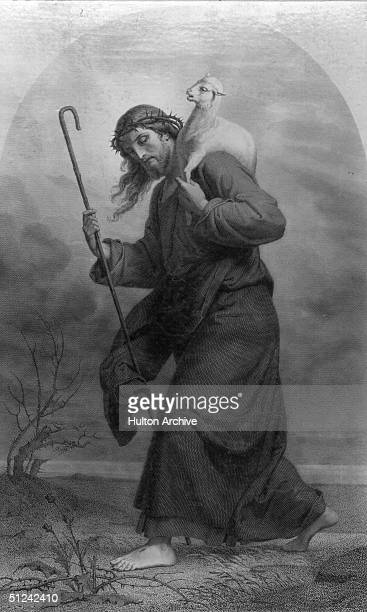 Circa 20 AD Jesus Christ represented as The Good Shepherd Original Artwork A painting by I Kihrahn