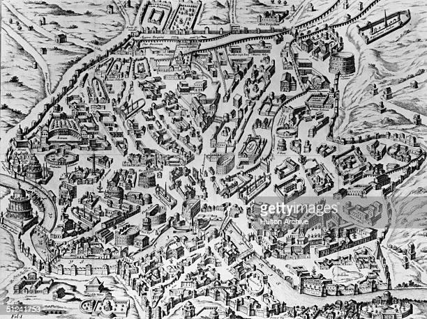 Circa 200 AD A reconstruction of the ancient city of Rome at the time of the Emperor Severus Original Artwork An engraving by Philip after Torenvliet