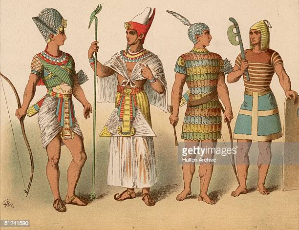 Circa 2000 BC From left to right an ancient Egyptian pharaoh in war costume a pharaoh in ceremonial costume and two ancient Egyptian warriors The...