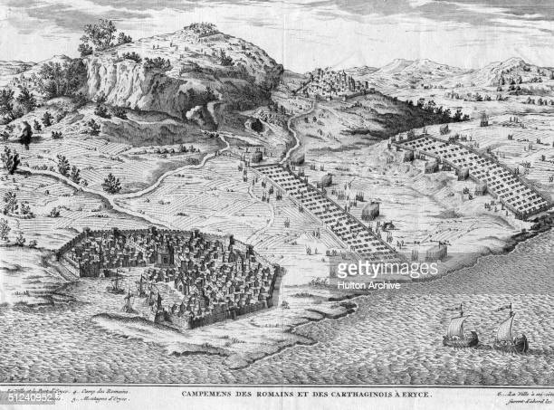 Circa 250 BC The Roman and Carthaginian camps at Eryce Sicily during the 1st Punic War between Carthage and Rome 264241 BC