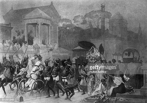 Circa 27 BC In the time of Augustus Nubian slaves whipping a passage for a rich woman on the Appian way crowded with traffic and people from many...