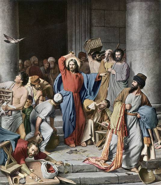 Circa 30 AD, Jesus Christ drives the money changers...