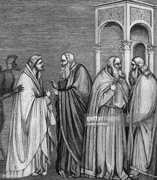 Circa 30 AD, Judas Iscariot receiving a bag of silver from a group of Jewish high priests after his betrayal of Jesus Christ. Original Artwork: An...