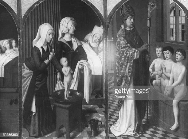 Scenes from the life of Saint Nicholas 4th Century Bishop of Myra on a triptych by Gerard David On the left St Nicholas as a saintly infant and on...