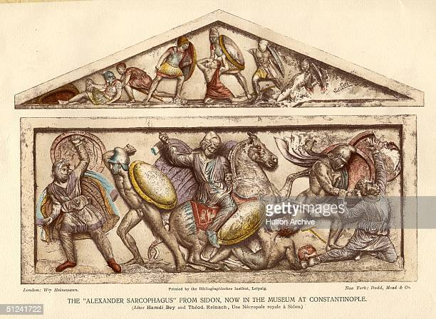 Circa 300 BC The 'Alexander Sarcophagus' the largest Greek sarcophagus found at Sidon and put on display in the Constantinople Museum It dates from...