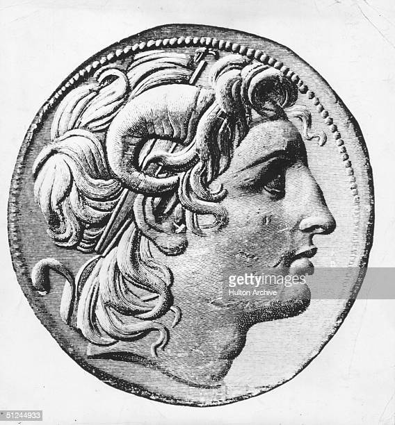 Circa 330 BC Alexander the Great King of Macedonia wearing horns on his head