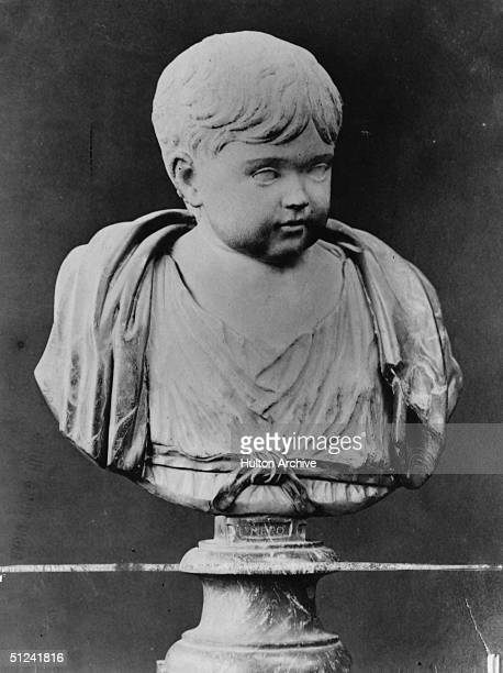 Circa 45 AD A bust of Roman Emperor Nero as a boy Uffizi Museum Florence
