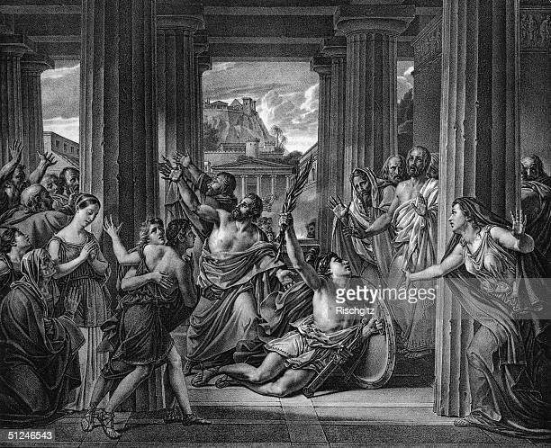Circa 490 BC Greek runner Pheidippides collapses and dies on his return to Athens after running from Marathon with news of the Greek victory in...