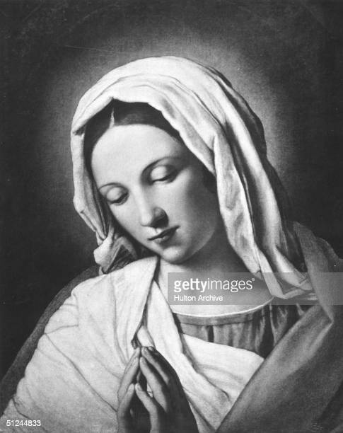 Circa 5 BC, Mary , also known as Our Lady or the Blessed Virgin Mary, Mother of Jesus Christ. Original Artwork: 'Virgin in Prayer' by Giovanni...