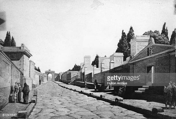 Circa 50 AD, An artist's impression of the Street of the Tombs in Herculaneum.