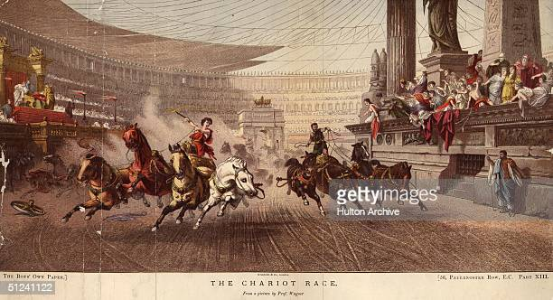 Circa 50 BC A chariot race at the Circus Maximus Rome Original Artwork A print in the collection of Manchester City Art Gallery after a painting by...
