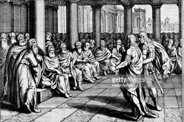 Circa 50 BC A group of Romans debating during an election where the Senators may choose a dictator