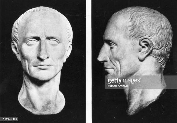 Circa 50 BC Front and profile views of the bust of Roman dictator Julius Caesar on display in the British Museum