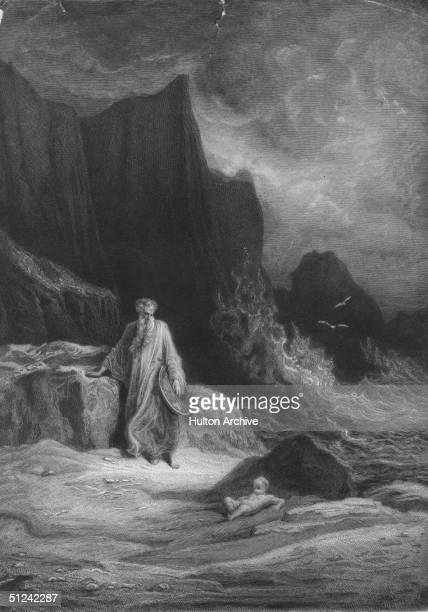 Circa 500 AD King Arthur of England An elderly figure who is carrying a round object is looking at a naked baby behind a rock