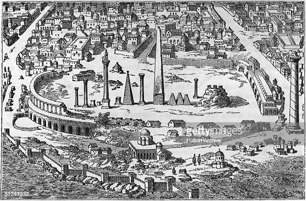 Circa 500 AD The circus and hippodrome of Christian Constantinople with several obelisks amid the central ruins Original Publication From an...