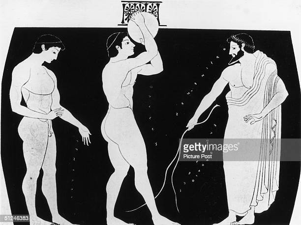 Circa 500 BC A discus thrower prepares to take part in the ancient Greek Olympic Games on an item of Greek pottery Original Artwork Picture Post 5953...