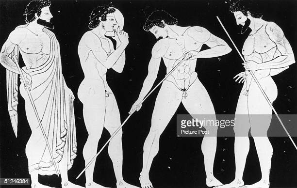Circa 500 BC Javelin and discus throwers prepare to take part in the ancient Greek Olympic Games on an item of Greek pottery Original Artwork Picture...