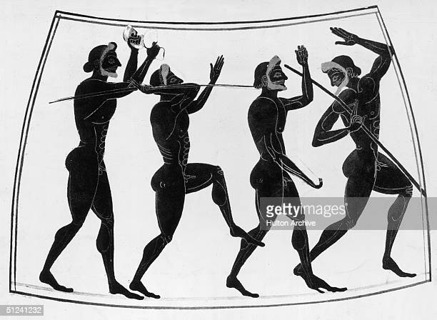 Circa 525 BC Four athletes prepare to take part in the ancient Greek Olympic Games a discus thrower a jumper and two javelin throwers Original...