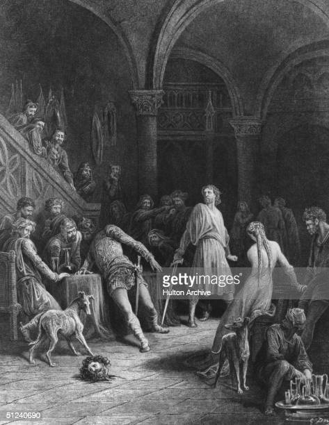 Circa 542 AD A man's head has been cut off by one of King Arthur's knights Watched by the courtiers it rolls across the floor Original Artwork...