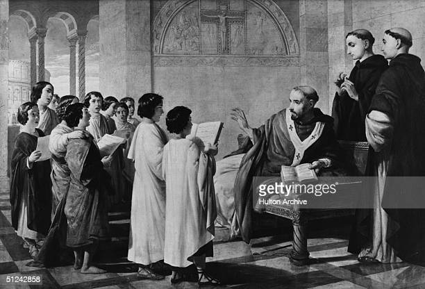 Circa 595 AD Gregory the Great Pope Gregory I Pope and Saint who introduced Gregorian chant to the liturgy teaching a group of boys to sing the chant...