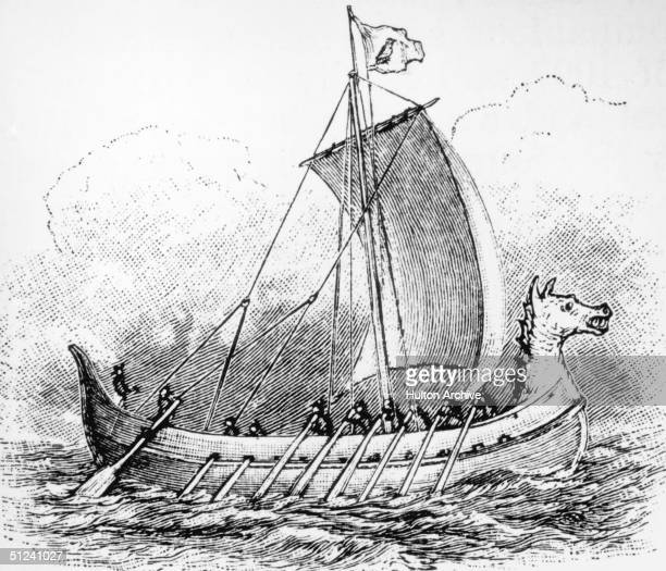 Circa 800 AD A representation of a Viking longship similar to those that raided England and the European mainland which were richly ornamented with...