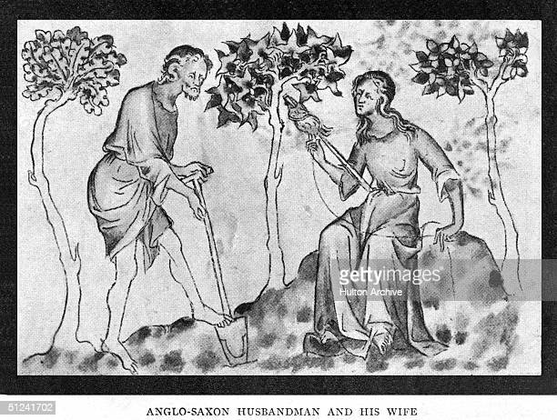 Circa 800 AD An AngloSaxon farmer or 'husbandman' and his wife hard at work he with his spade and she with her spinning distaff