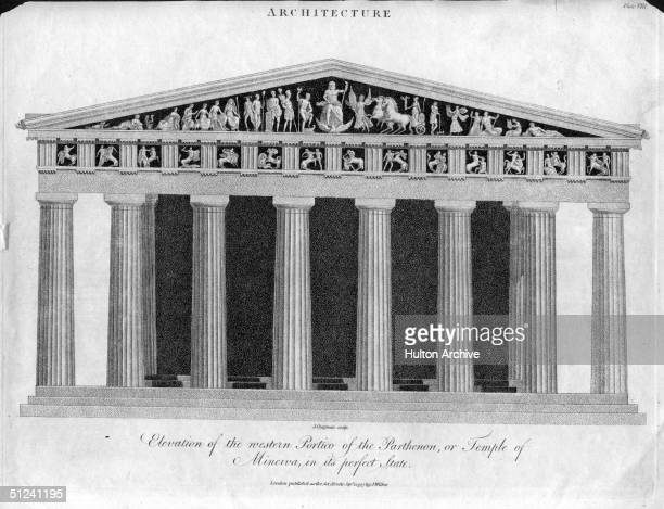 Circa 800 AD, The Architecture of The Parthenon, a temple in Athens which is decorated by sculptures from the school of Phidias.