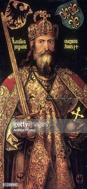 Circa 800 Charlemagne King of the Franks Christian emperor of the West Original Publication Oil portrait of Charlemagne by Albrecht Durer in the...