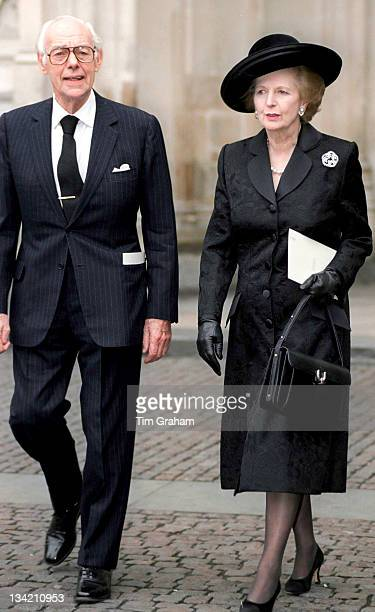 Margaret Thatcher and husband Denis Thatcher attend a Service of Thanksgiving for George Thomas 1st Viscount Tonypandy at Westminster Abbey on circa...