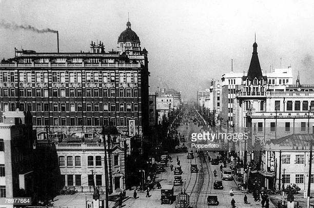 Circa1930, Japan, Tokyo: View of the Ginza, the principal throughfare of the city